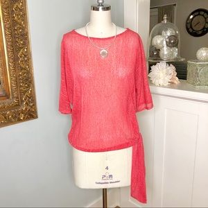 Chico's Red Mesh Trendy Side Tie Blouse Shirt New